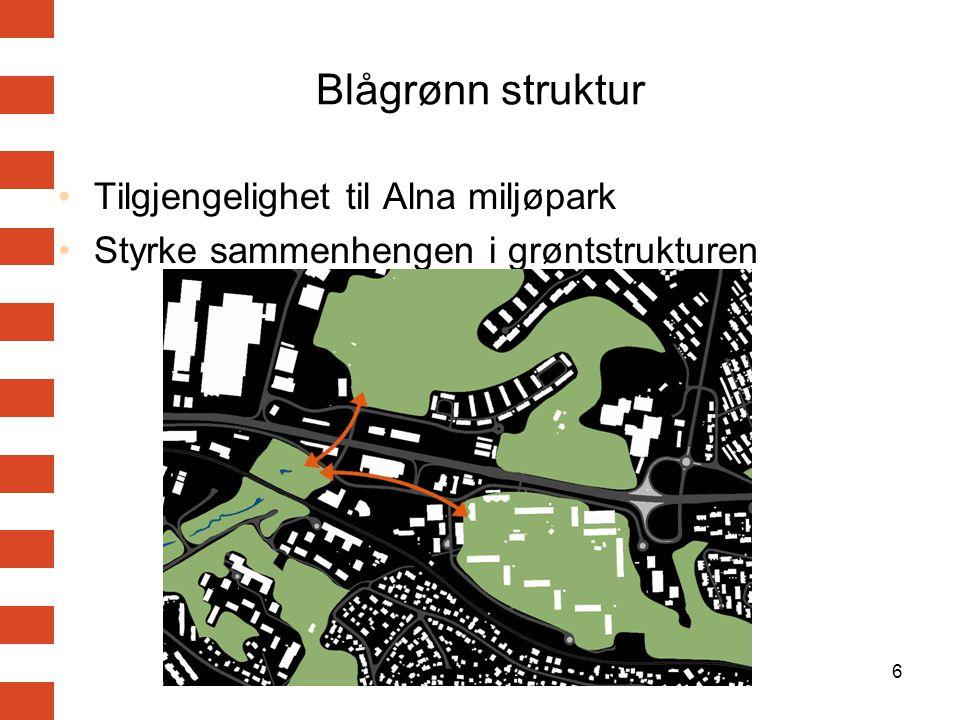 6 Blågrønn struktur Tilgjengelighet til Alna miljøpark Styrke sammenhengen i grøntstrukturen