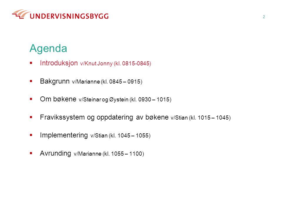 2 Agenda  Introduksjon v/Knut Jonny (kl. 0815-0845)  Bakgrunn v/Marianne (kl. 0845 – 0915)  Om bøkene v/Steinar og Øystein (kl. 0930 – 1015)  Frav