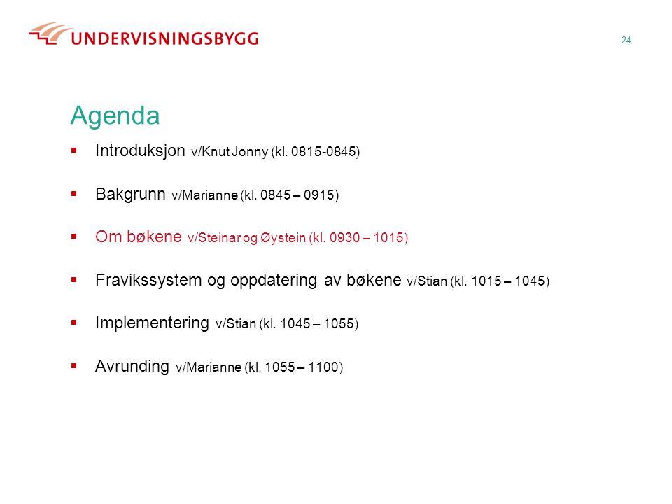 24 Agenda  Introduksjon v/Knut Jonny (kl. 0815-0845)  Bakgrunn v/Marianne (kl. 0845 – 0915)  Om bøkene v/Steinar og Øystein (kl. 0930 – 1015)  Fra