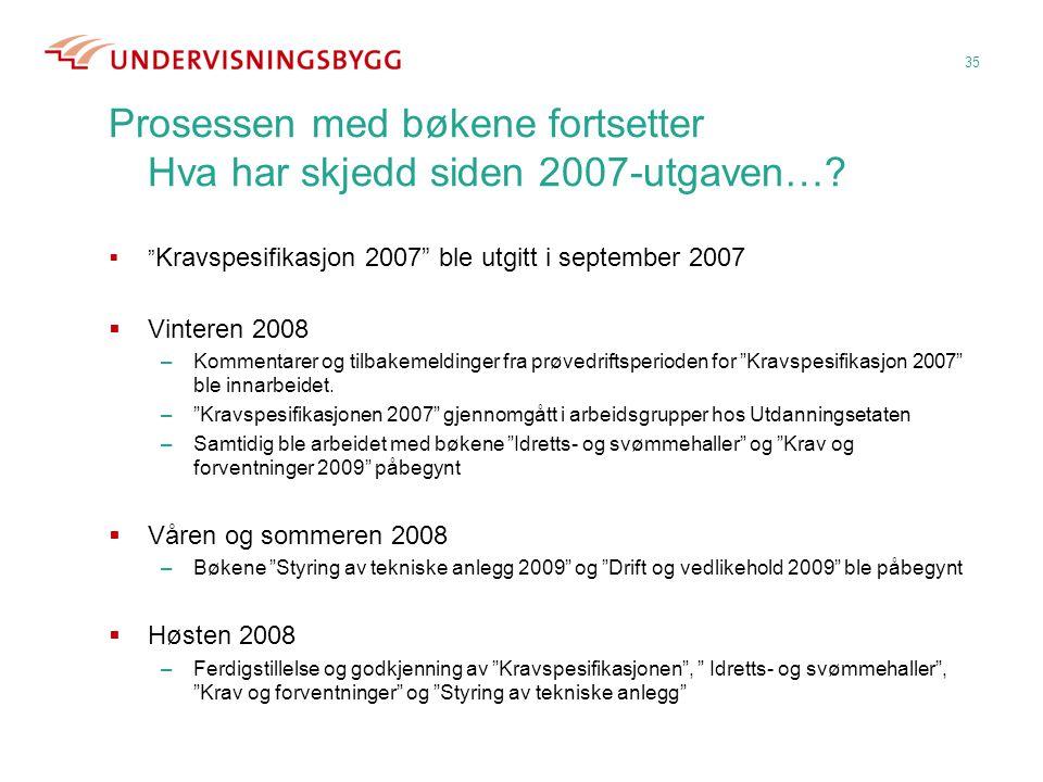 """Prosessen med bøkene fortsetter Hva har skjedd siden 2007-utgaven…?  """" Kravspesifikasjon 2007"""" ble utgitt i september 2007  Vinteren 2008 –Kommentar"""