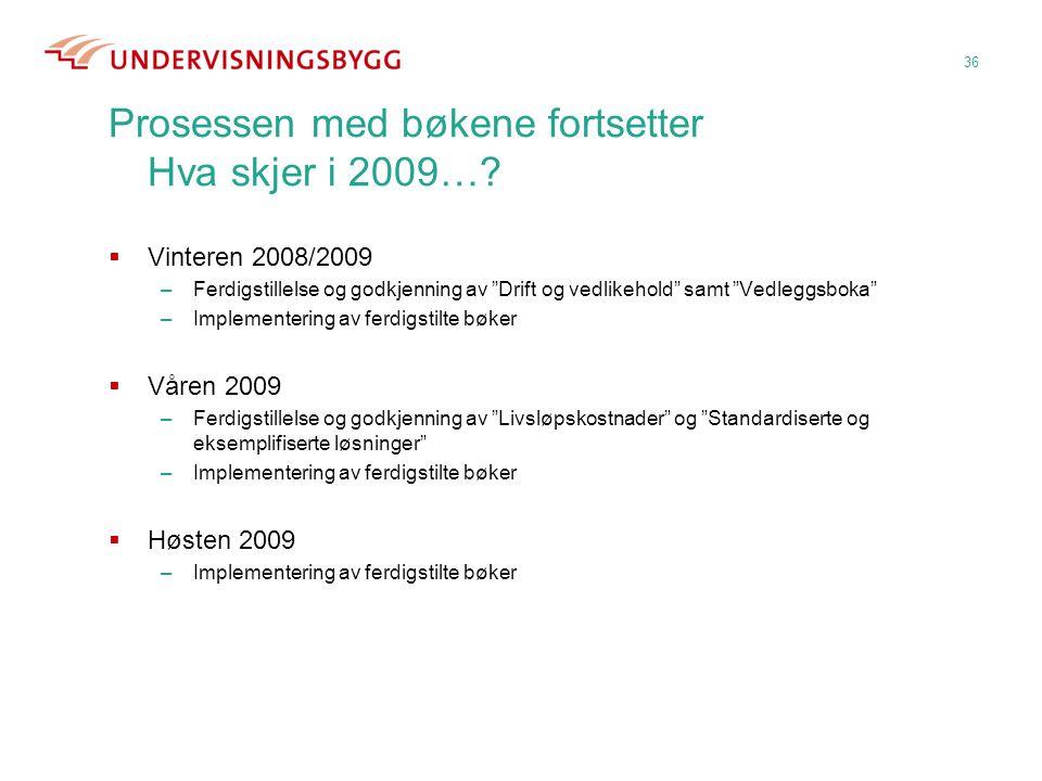 """Prosessen med bøkene fortsetter Hva skjer i 2009…?  Vinteren 2008/2009 –Ferdigstillelse og godkjenning av """"Drift og vedlikehold"""" samt """"Vedleggsboka"""""""