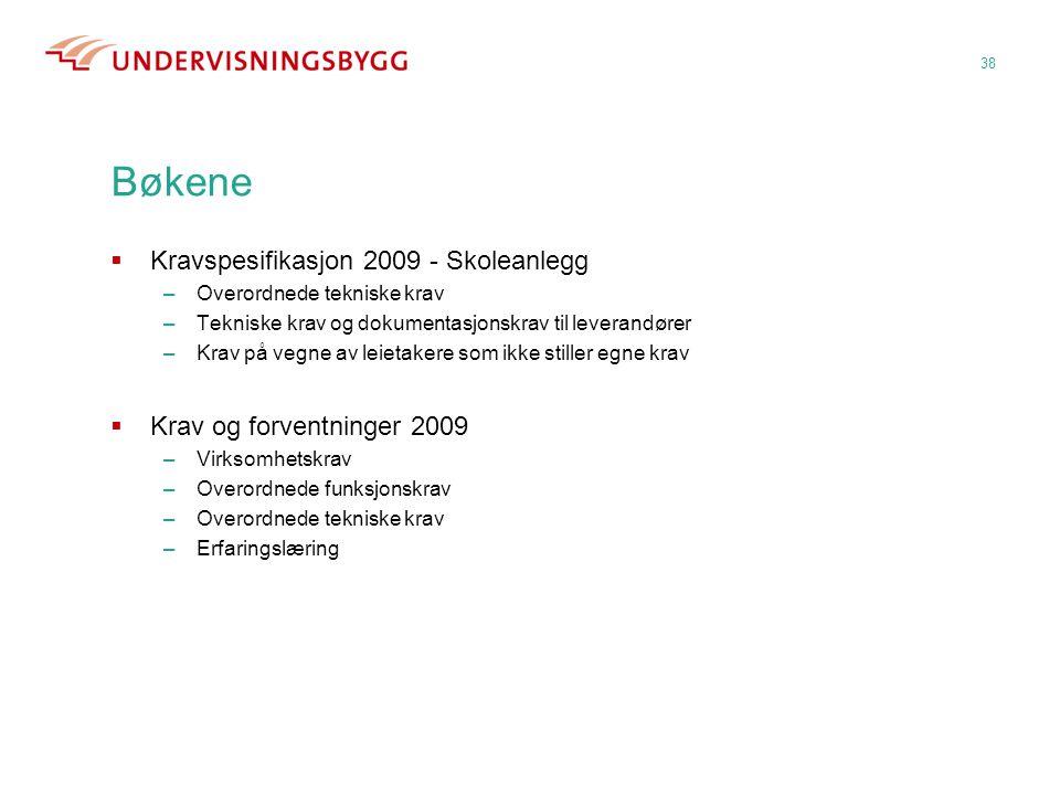 Bøkene  Kravspesifikasjon 2009 - Skoleanlegg –Overordnede tekniske krav –Tekniske krav og dokumentasjonskrav til leverandører –Krav på vegne av leiet