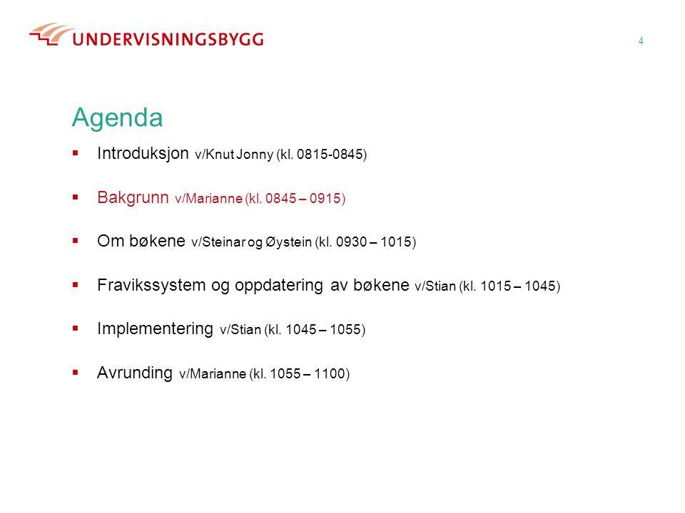 4 Agenda  Introduksjon v/Knut Jonny (kl. 0815-0845)  Bakgrunn v/Marianne (kl. 0845 – 0915)  Om bøkene v/Steinar og Øystein (kl. 0930 – 1015)  Frav