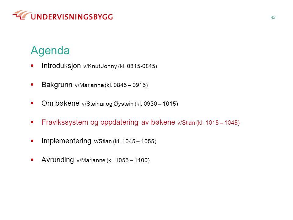 43 Agenda  Introduksjon v/Knut Jonny (kl. 0815-0845)  Bakgrunn v/Marianne (kl. 0845 – 0915)  Om bøkene v/Steinar og Øystein (kl. 0930 – 1015)  Fra