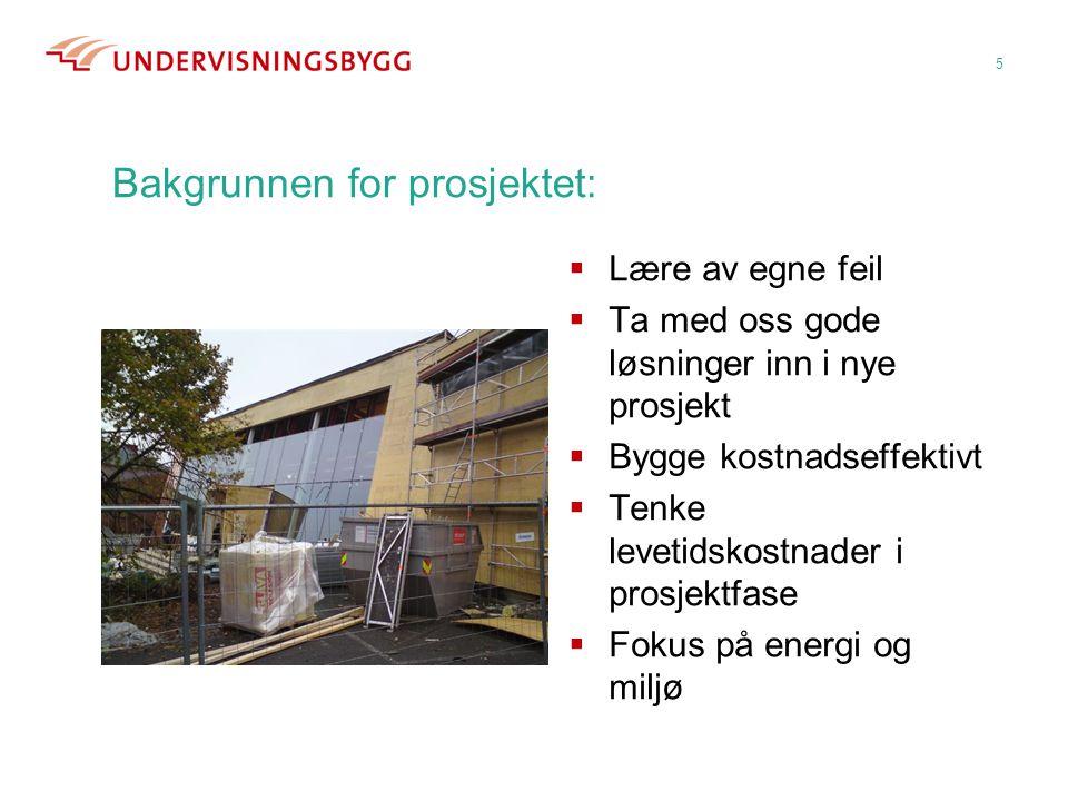 Bakgrunnen for prosjektet:  Lære av egne feil  Ta med oss gode løsninger inn i nye prosjekt  Bygge kostnadseffektivt  Tenke levetidskostnader i pr