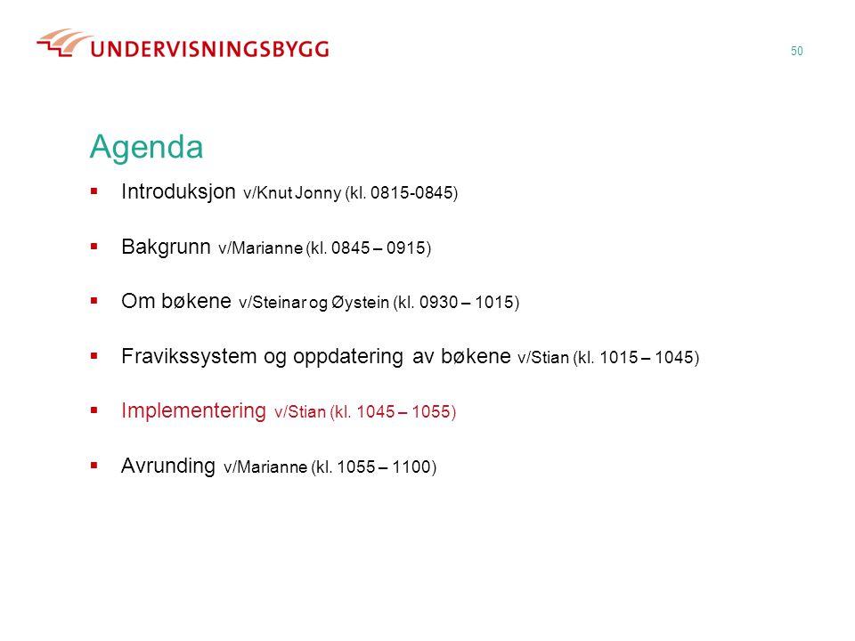 50 Agenda  Introduksjon v/Knut Jonny (kl. 0815-0845)  Bakgrunn v/Marianne (kl. 0845 – 0915)  Om bøkene v/Steinar og Øystein (kl. 0930 – 1015)  Fra