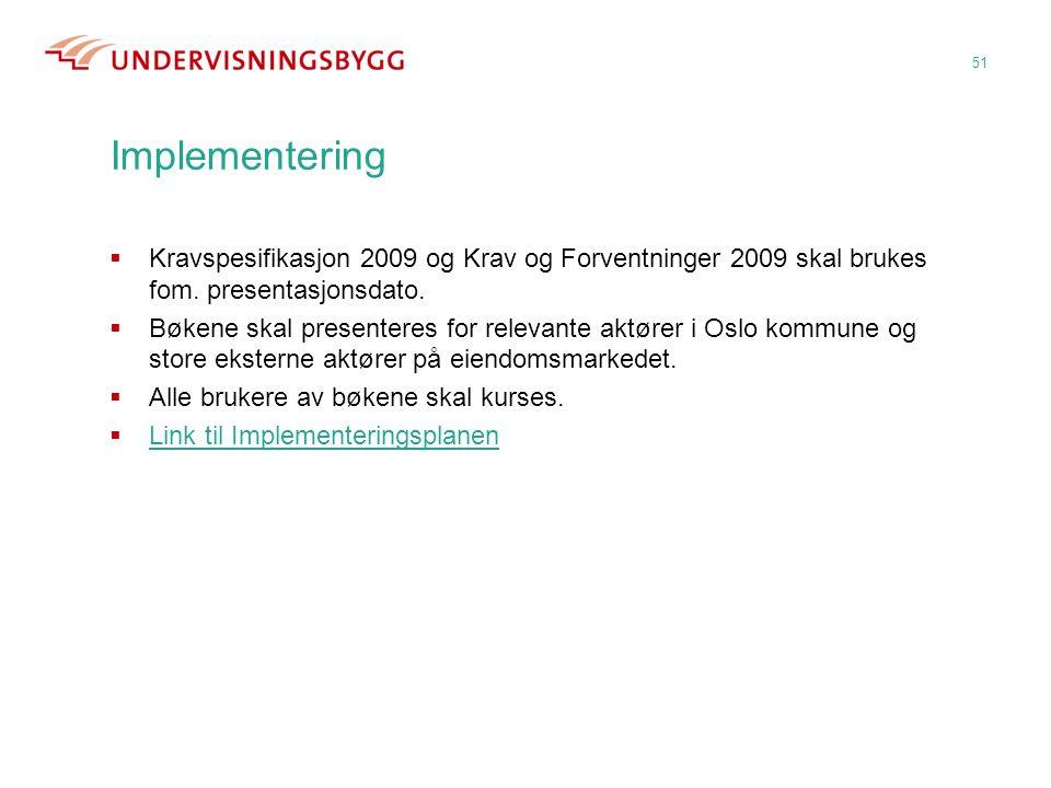 Implementering 51  Kravspesifikasjon 2009 og Krav og Forventninger 2009 skal brukes fom. presentasjonsdato.  Bøkene skal presenteres for relevante a