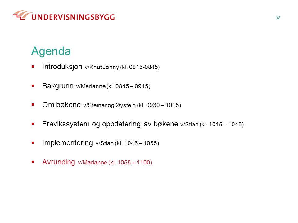 52 Agenda  Introduksjon v/Knut Jonny (kl. 0815-0845)  Bakgrunn v/Marianne (kl. 0845 – 0915)  Om bøkene v/Steinar og Øystein (kl. 0930 – 1015)  Fra