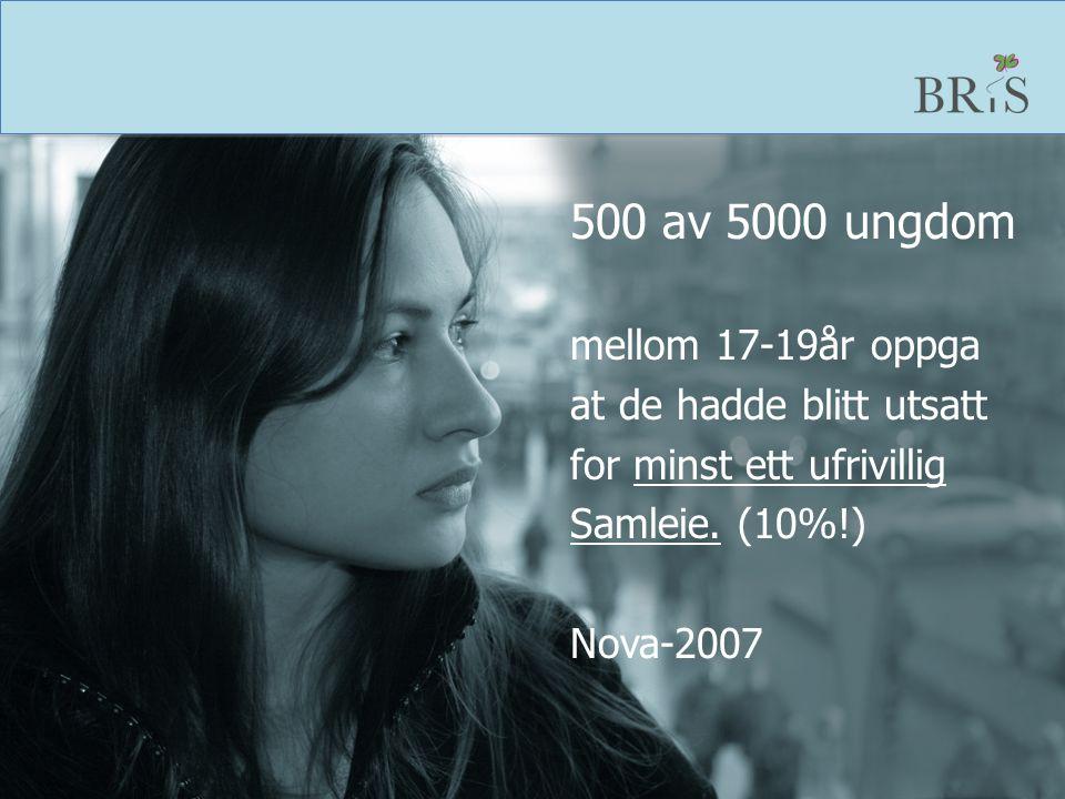 500 av 5000 ungdom mellom 17-19år oppga at de hadde blitt utsatt for minst ett ufrivillig Samleie. (10%!) Nova-2007