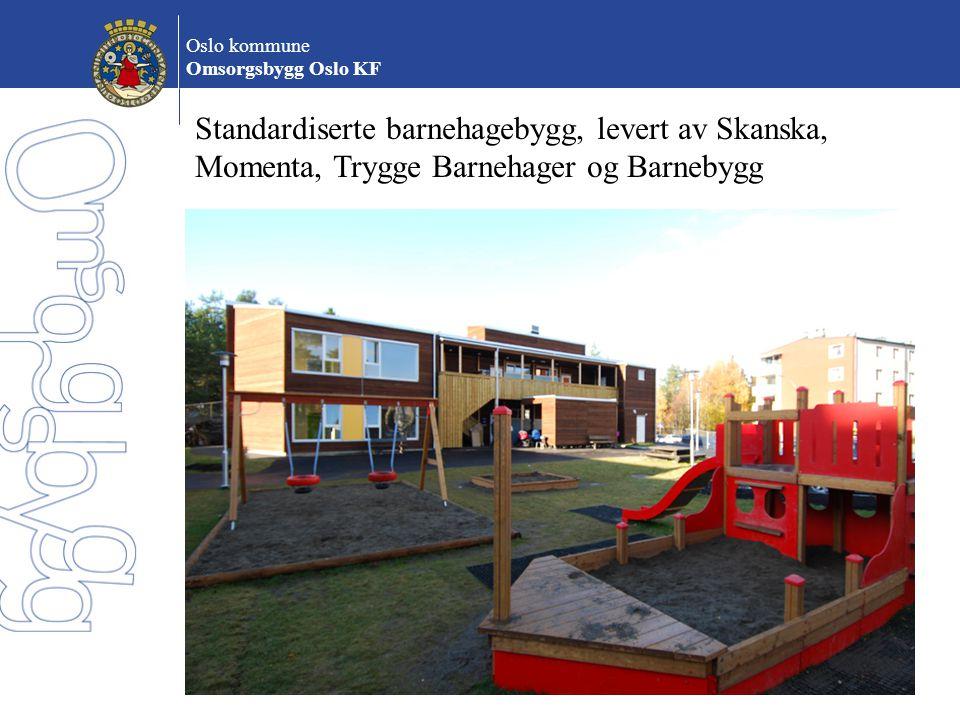 Oslo kommune Omsorgsbygg Oslo KF Standardiserte barnehagebygg, levert av Skanska, Momenta, Trygge Barnehager og Barnebygg