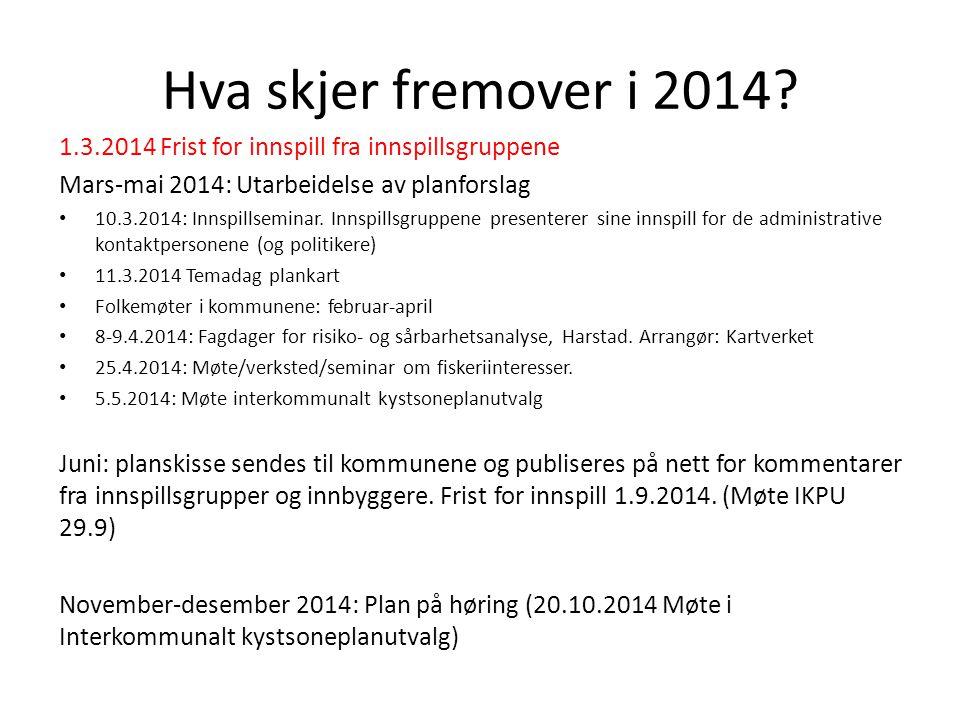 Hva skjer fremover i 2014? 1.3.2014 Frist for innspill fra innspillsgruppene Mars-mai 2014: Utarbeidelse av planforslag 10.3.2014: Innspillseminar. In