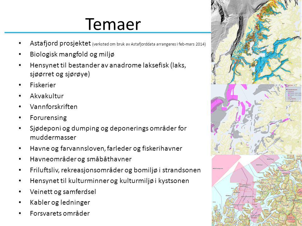Temaer Astafjord prosjektet (verksted om bruk av Astafjorddata arrangeres i feb-mars 2014) Biologisk mangfold og miljø Hensynet til bestander av anadr