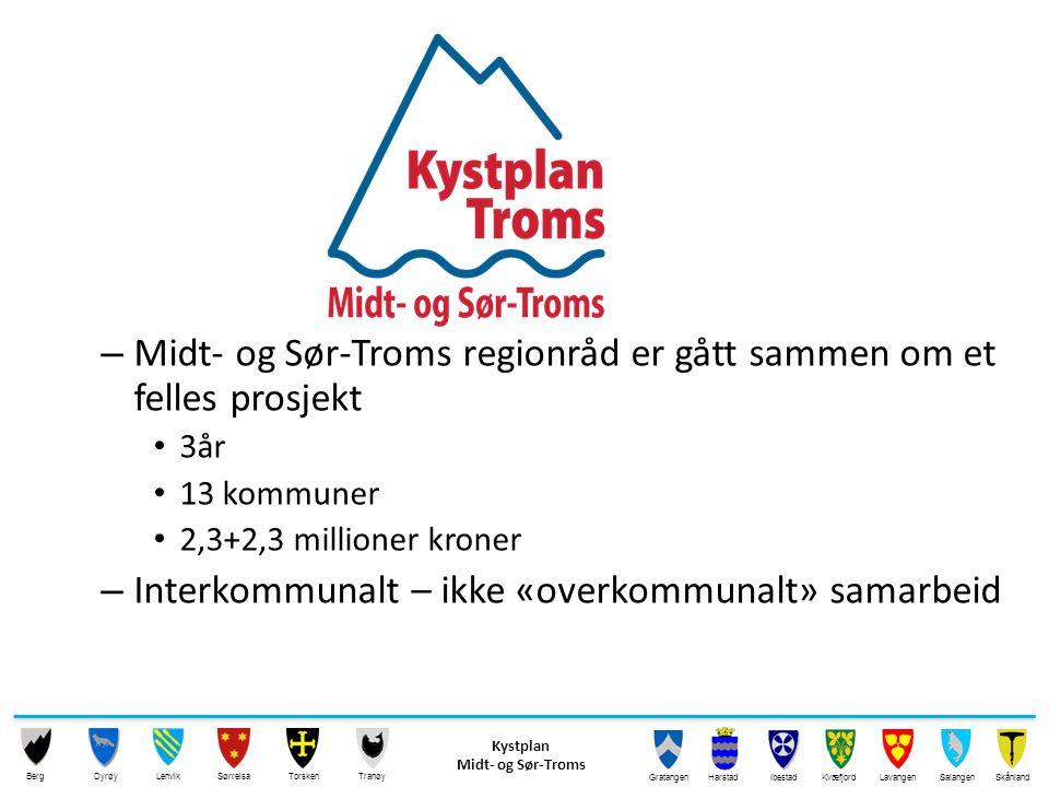 Kystplan Midt- og Sør-Troms 13 kommuner, interkommunal planprosess Kystplan Midt- og Sør-Troms 13 kommuner, interkommunal planprosess Kystplan Tromsø-området 5 kommuner med, konsulent gjør jobben, ikke interkommunalt planutvalg, men koordinerte kommunale prosesser Kystplan Tromsø-området 5 kommuner med, konsulent gjør jobben, ikke interkommunalt planutvalg, men koordinerte kommunale prosesser Kystplan Nord-Troms Alle planer oppdateres, men ikke i koordinert prosess mellom alle kommuner samtidig Kystplan Nord-Troms Alle planer oppdateres, men ikke i koordinert prosess mellom alle kommuner samtidig Kystplan Troms Karlsøy Dyrøy ( )