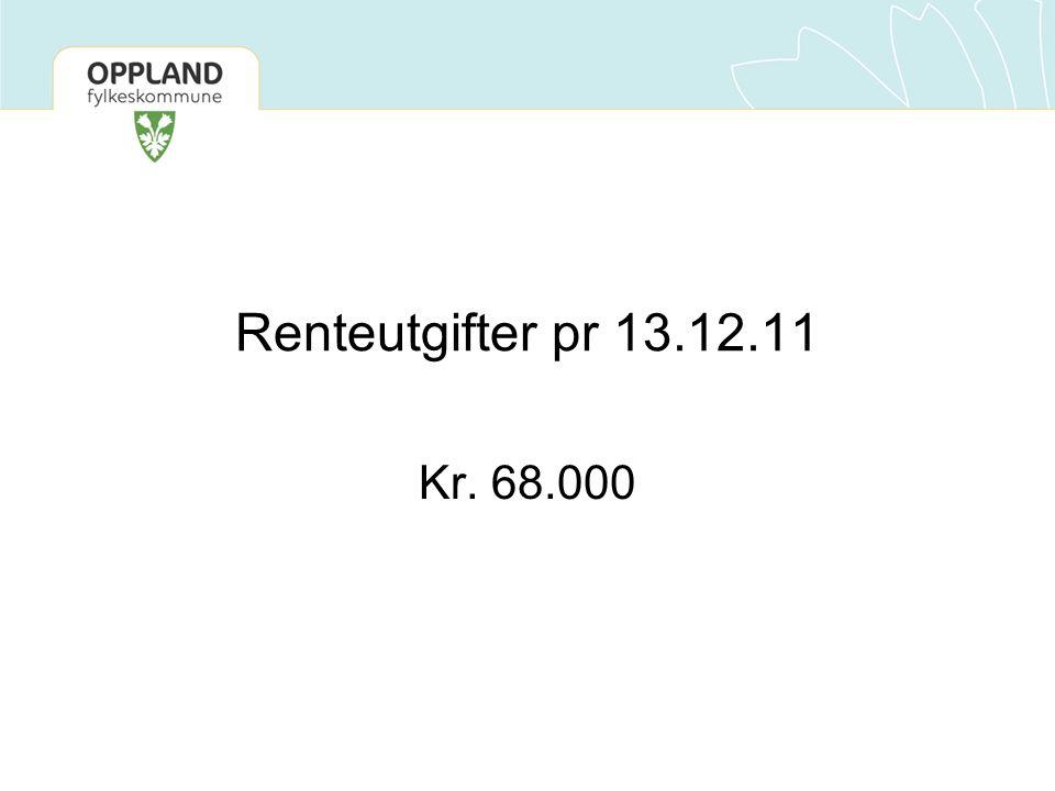 Renteutgifter pr 13.12.11 Kr. 68.000
