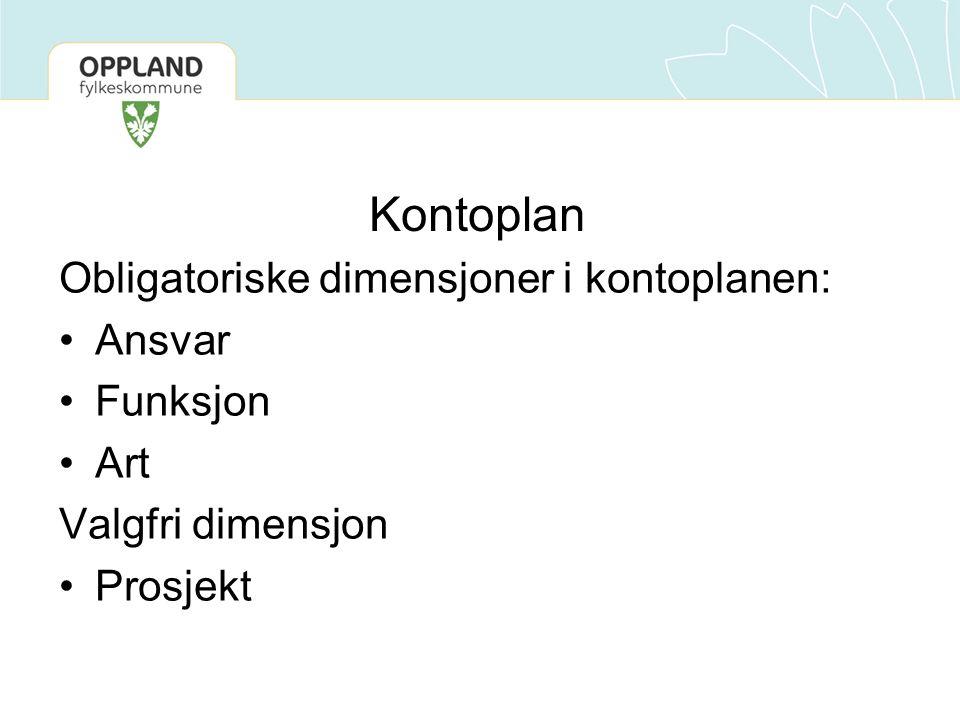 Kontoplan Obligatoriske dimensjoner i kontoplanen: Ansvar Funksjon Art Valgfri dimensjon Prosjekt
