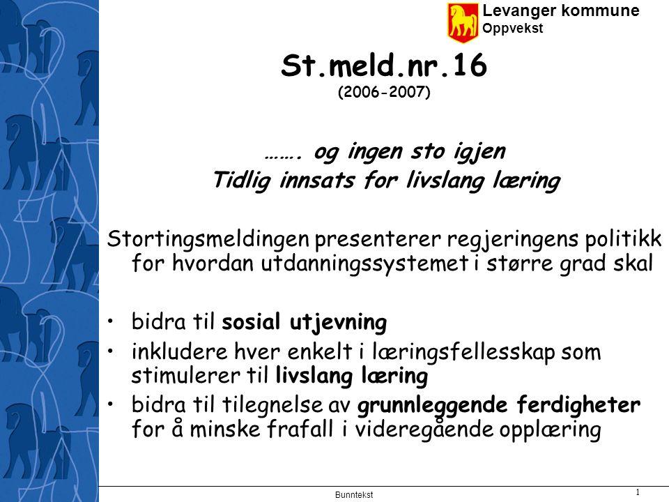 Levanger kommune Oppvekst Bunntekst 2 St.meld.nr.16 (2006-2007) Innsatsområder og tiltak: Småbarnsalderen Studier viser at tidlig språkstimulering kan forebygge sosiale forskjeller i senere læringsresultater i skolen.