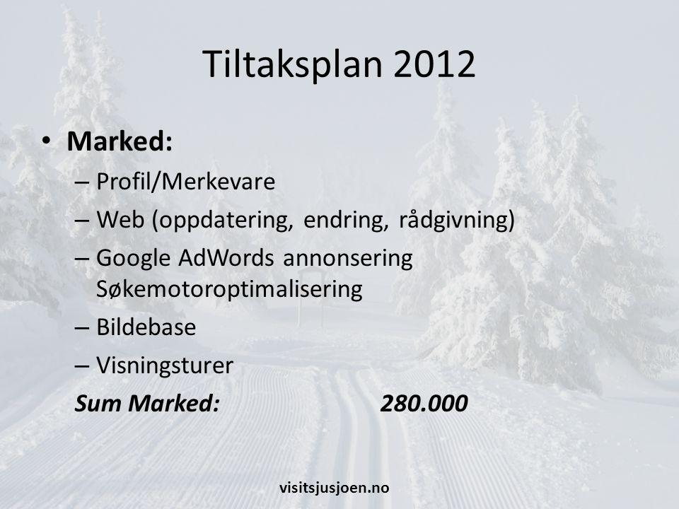 Tiltaksplan 2012 Marked: – Profil/Merkevare – Web (oppdatering, endring, rådgivning) – Google AdWords annonsering Søkemotoroptimalisering – Bildebase – Visningsturer Sum Marked: 280.000 visitsjusjoen.no