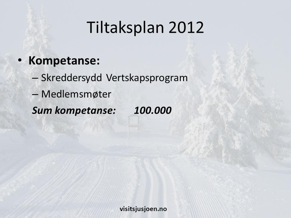 Tiltaksplan 2012 Kompetanse: – Skreddersydd Vertskapsprogram – Medlemsmøter Sum kompetanse: 100.000 visitsjusjoen.no