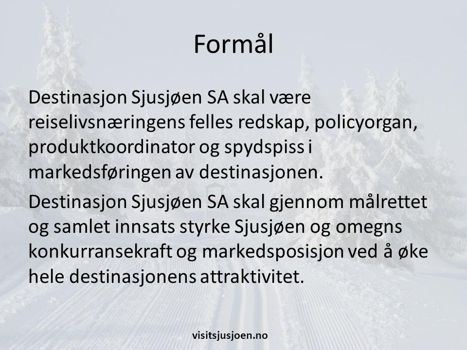Formål Destinasjon Sjusjøen SA skal være reiselivsnæringens felles redskap, policyorgan, produktkoordinator og spydspiss i markedsføringen av destinasjonen.