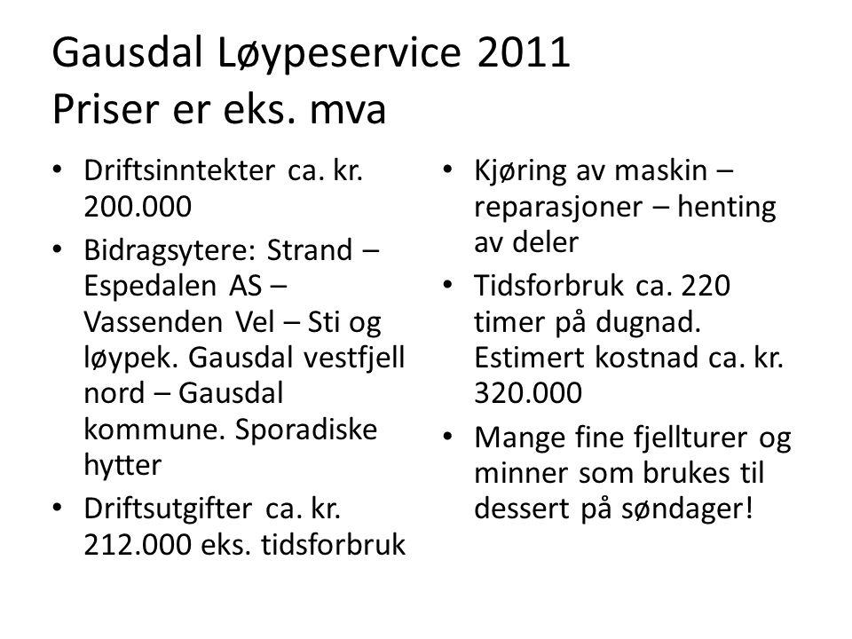 Gausdal Løypeservice 2011 Priser er eks. mva Kjøring av maskin – reparasjoner – henting av deler Tidsforbruk ca. 220 timer på dugnad. Estimert kostnad