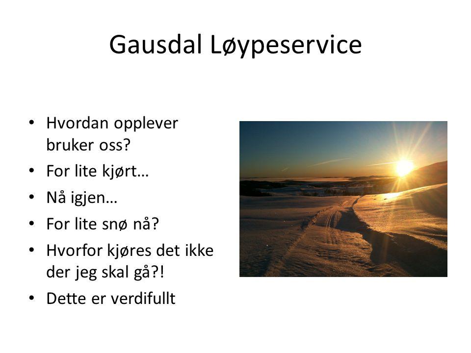 Gausdal Løypeservice Hvordan opplever bruker oss? For lite kjørt… Nå igjen… For lite snø nå? Hvorfor kjøres det ikke der jeg skal gå?! Dette er verdif