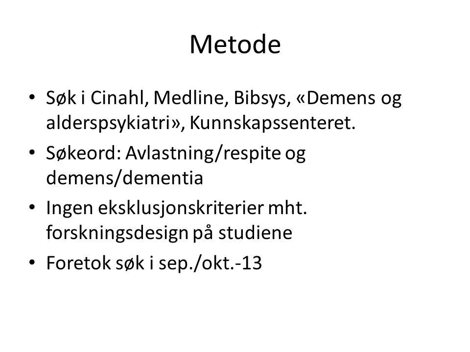 Metode Søk i Cinahl, Medline, Bibsys, «Demens og alderspsykiatri», Kunnskapssenteret.