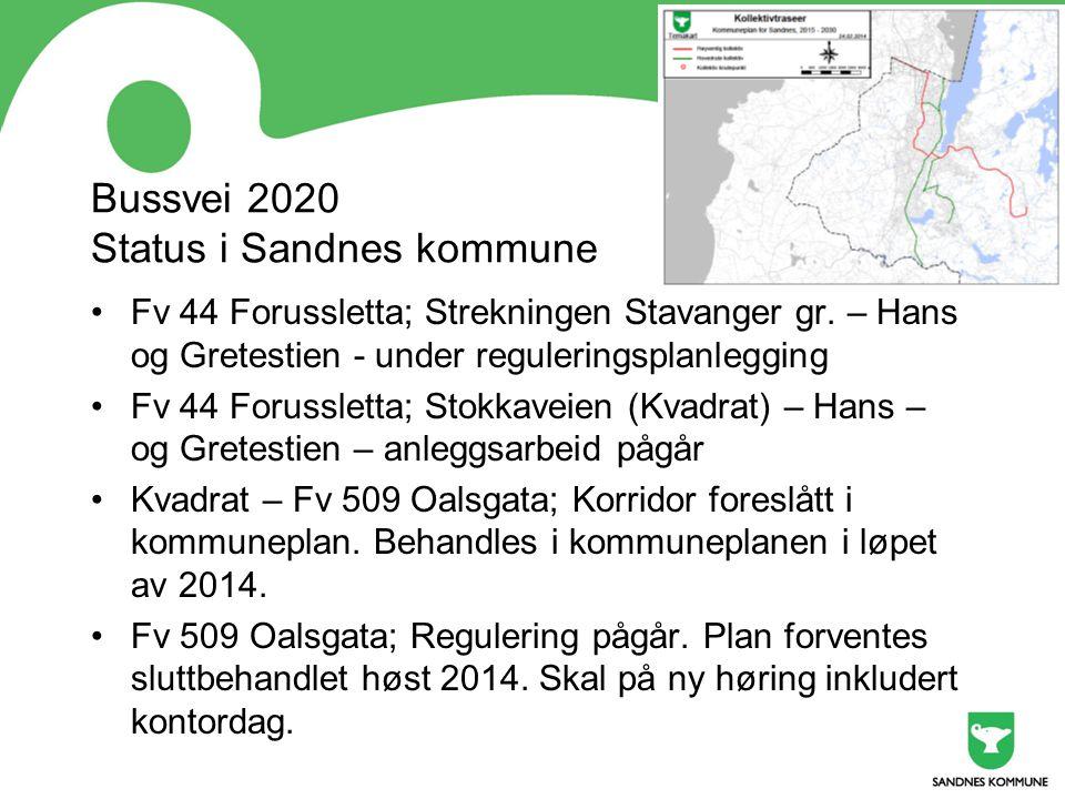 Bussvei 2020 Status i Sandnes kommune Fv 44 Forussletta; Strekningen Stavanger gr. – Hans og Gretestien - under reguleringsplanlegging Fv 44 Forusslet