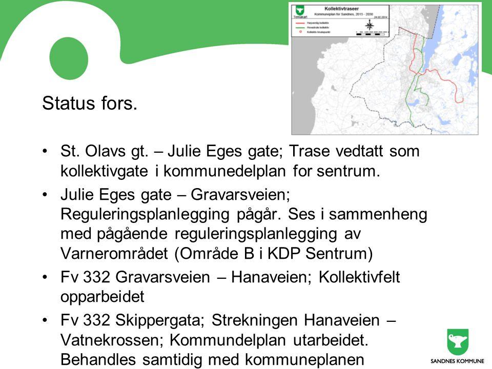 Status fors. St. Olavs gt. – Julie Eges gate; Trase vedtatt som kollektivgate i kommunedelplan for sentrum. Julie Eges gate – Gravarsveien; Regulering