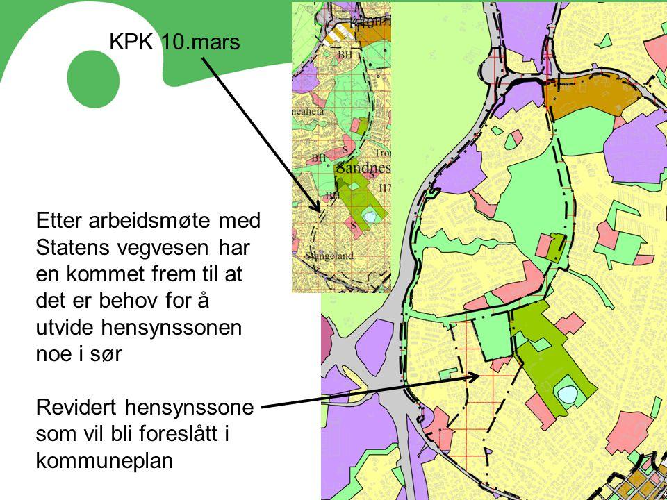 Etter arbeidsmøte med Statens vegvesen har en kommet frem til at det er behov for å utvide hensynssonen noe i sør Revidert hensynssone som vil bli for