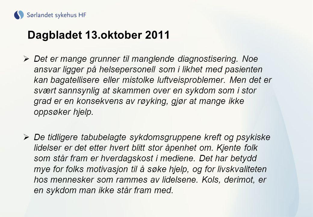 Dagbladet 13.oktober 2011  Det er mange grunner til manglende diagnostisering. Noe ansvar ligger på helsepersonell som i likhet med pasienten kan bag