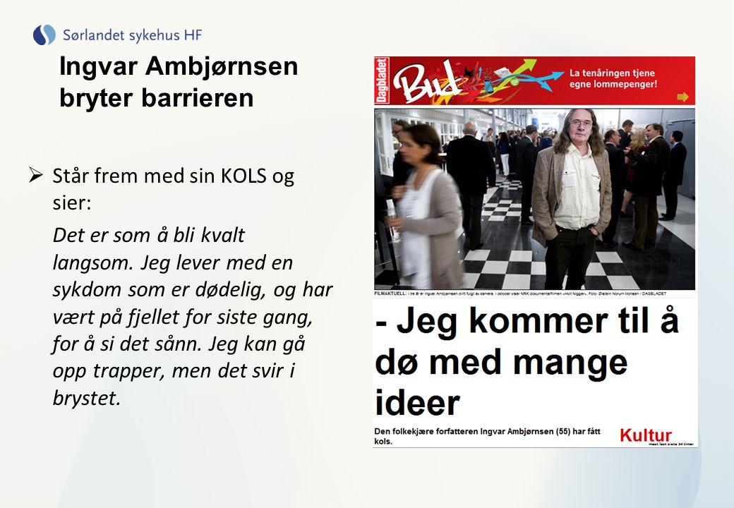 Ingvar Ambjørnsen bryter barrieren  Står frem med sin KOLS og sier: Det er som å bli kvalt langsom. Jeg lever med en sykdom som er dødelig, og har væ