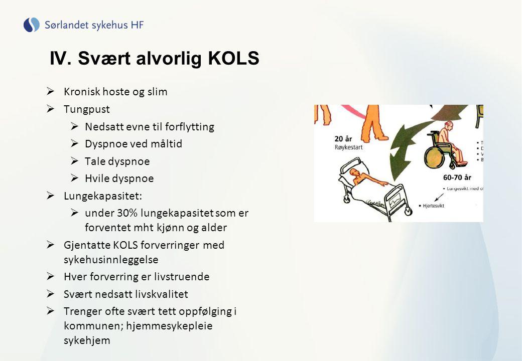 IV. Svært alvorlig KOLS  Kronisk hoste og slim  Tungpust  Nedsatt evne til forflytting  Dyspnoe ved måltid  Tale dyspnoe  Hvile dyspnoe  Lungek