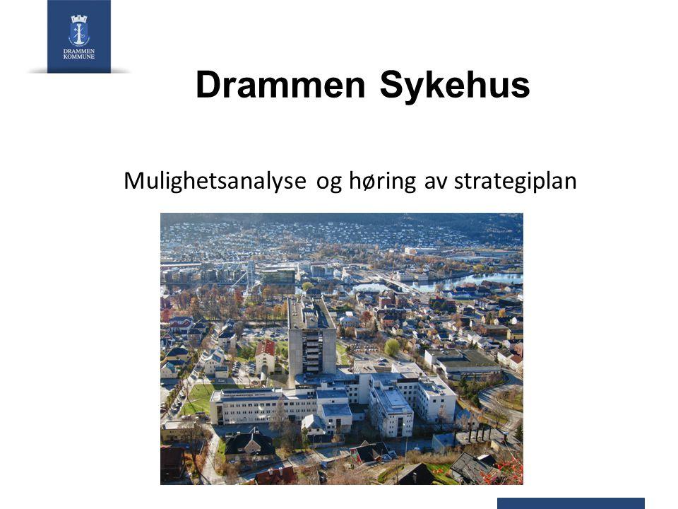 2 prosesser/saker Drammen Sykehus – utvikling - mulighetsanalyse Vestre Viken HF – strategiplan Hensikt: - Beslutningsprosessen - Vestre Viken HF's mulighetsanalyse - Hovedelementer i bystyresak vedr VV HF strategiplan Drammen Sykehus