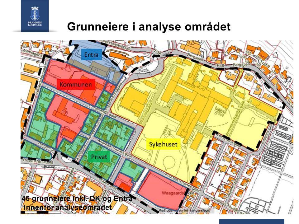 Grunneiere i analyse området 46 grunneiere inkl. DK og Entra innenfor analyseområdet