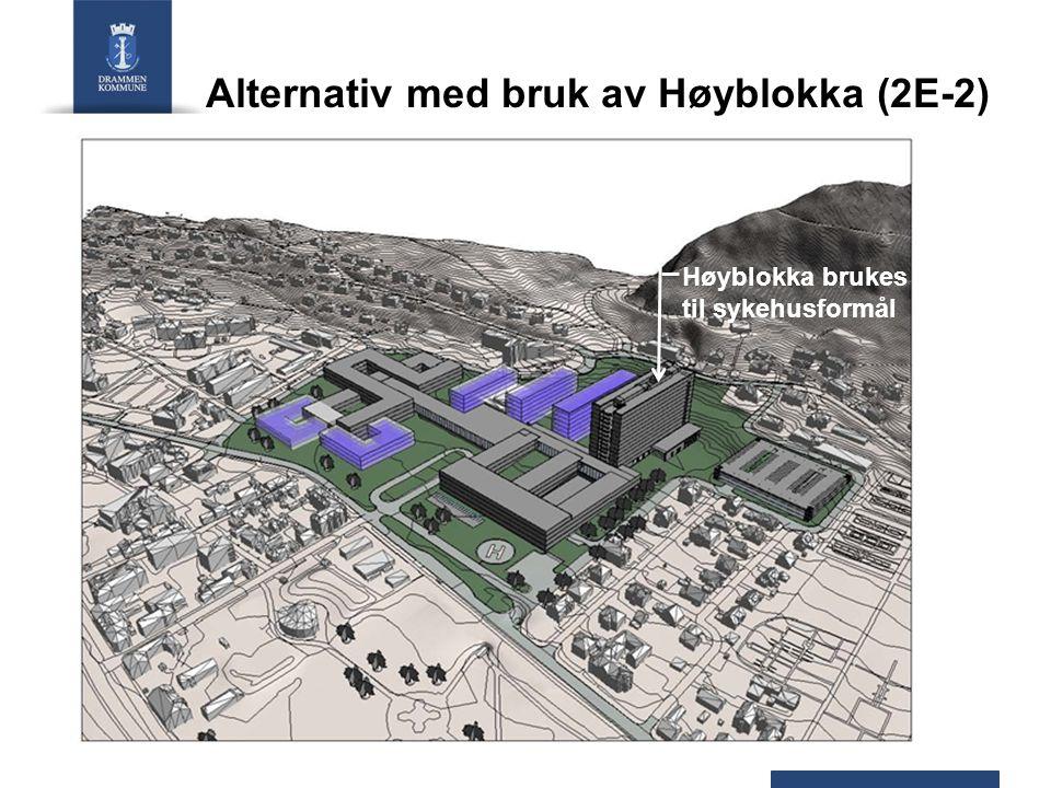 Alternativ med bruk av Høyblokka (2E-2) Høyblokka brukes til sykehusformål