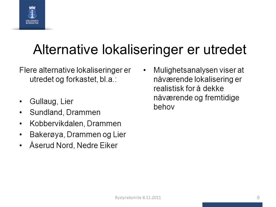 Alternative lokaliseringer er utredet Flere alternative lokaliseringer er utredet og forkastet, bl.a.: Gullaug, Lier Sundland, Drammen Kobbervikdalen,