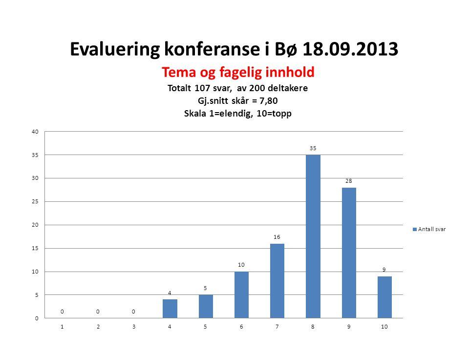 Evaluering konferanse i Bø 18.09.2013
