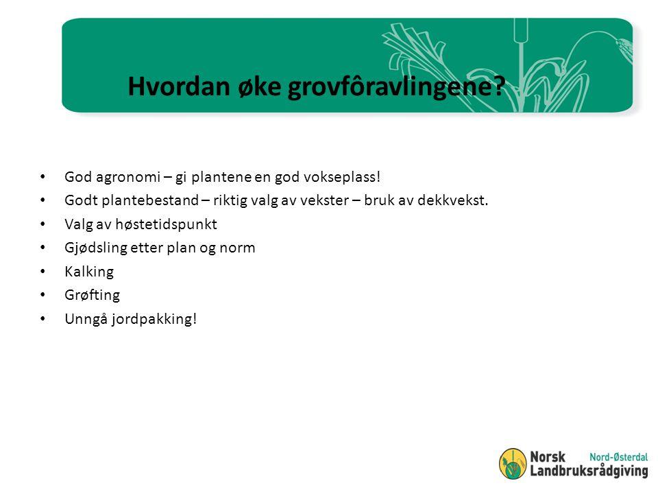 Konklusjoner Meravling ved utsatt høstetid på 15-20 kg ts / dag Ved høsting rundt beg.