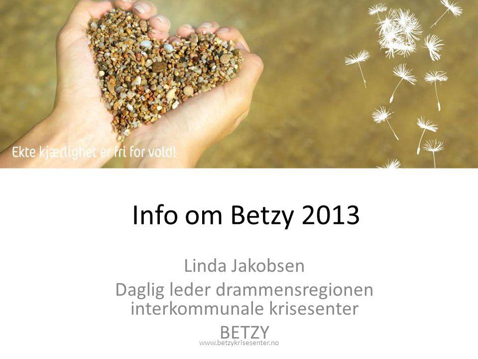 Info om Betzy 2013 Linda Jakobsen Daglig leder drammensregionen interkommunale krisesenter BETZY www.betzykrisesenter.no