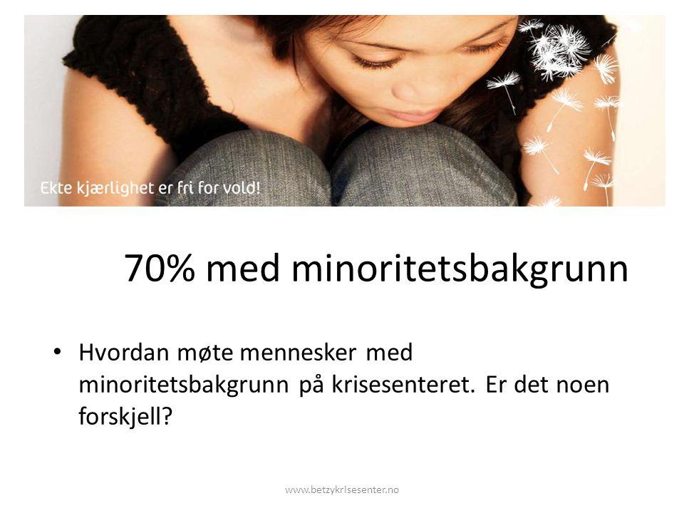 70% med minoritetsbakgrunn Hvordan møte mennesker med minoritetsbakgrunn på krisesenteret.