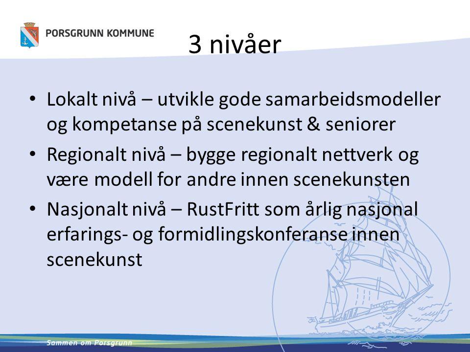 3 nivåer Lokalt nivå – utvikle gode samarbeidsmodeller og kompetanse på scenekunst & seniorer Regionalt nivå – bygge regionalt nettverk og være modell