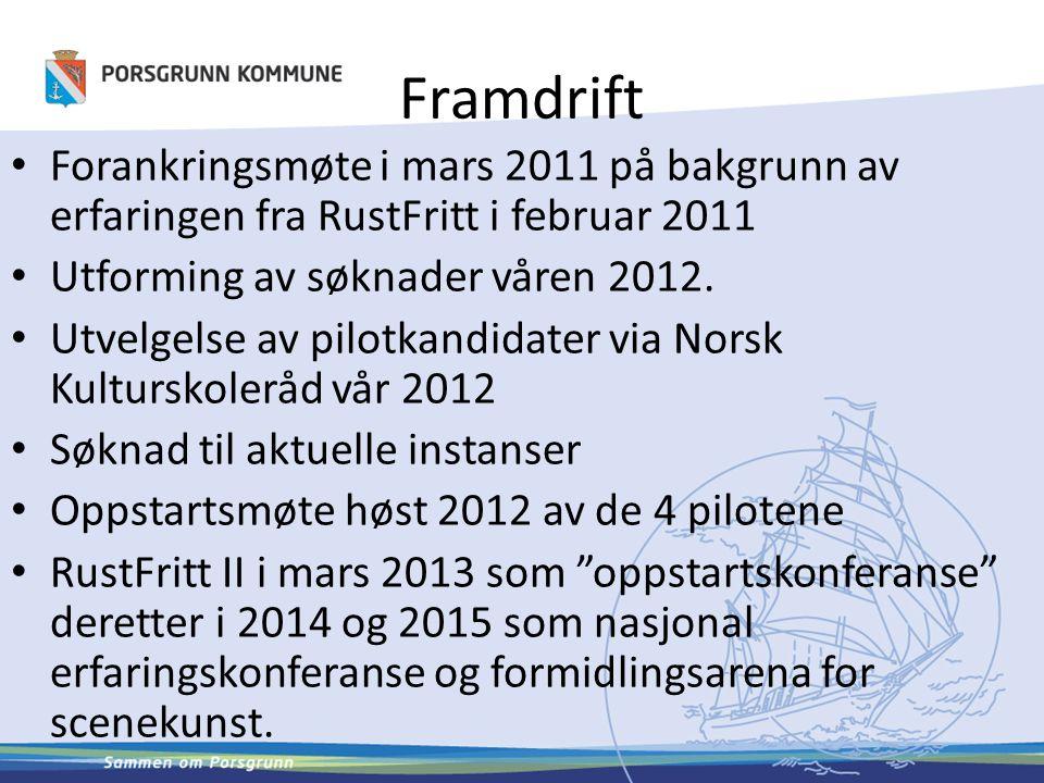 Framdrift Forankringsmøte i mars 2011 på bakgrunn av erfaringen fra RustFritt i februar 2011 Utforming av søknader våren 2012. Utvelgelse av pilotkand