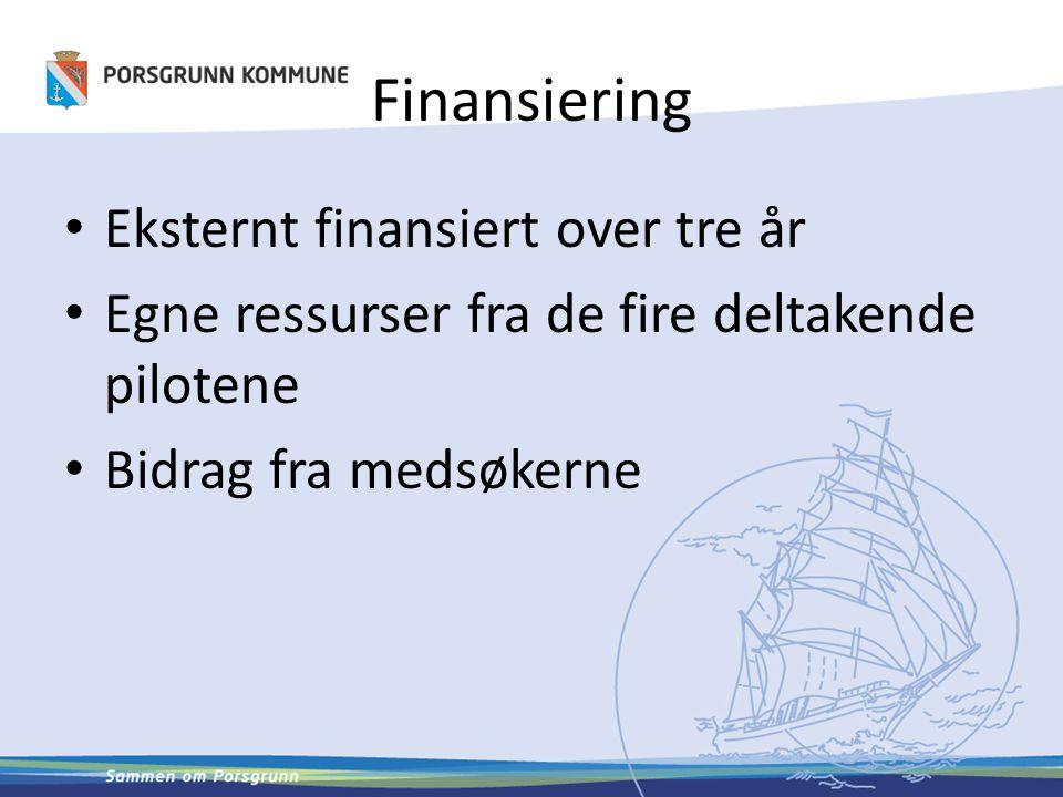 Finansiering Eksternt finansiert over tre år Egne ressurser fra de fire deltakende pilotene Bidrag fra medsøkerne