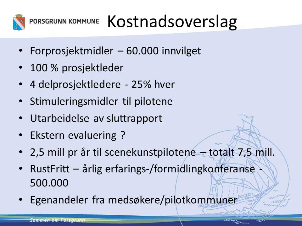 Kostnadsoverslag Forprosjektmidler – 60.000 innvilget 100 % prosjektleder 4 delprosjektledere - 25% hver Stimuleringsmidler til pilotene Utarbeidelse