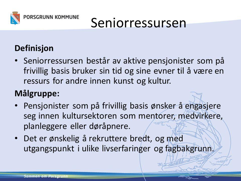 Seniorressursen Definisjon Seniorressursen består av aktive pensjonister som på frivillig basis bruker sin tid og sine evner til å være en ressurs for andre innen kunst og kultur.
