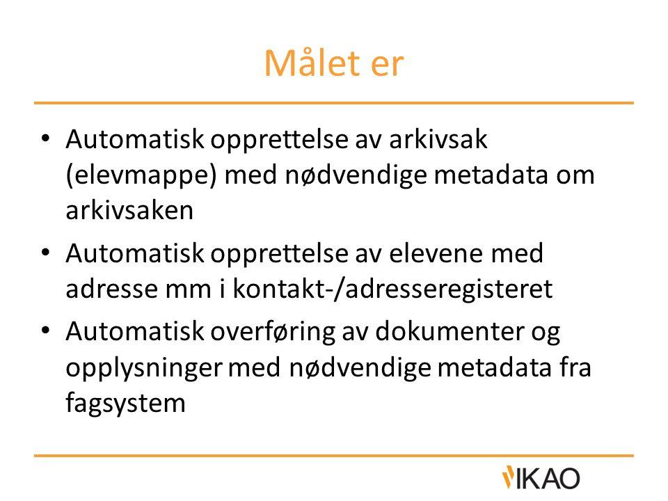 Målet er Automatisk opprettelse av arkivsak (elevmappe) med nødvendige metadata om arkivsaken Automatisk opprettelse av elevene med adresse mm i konta