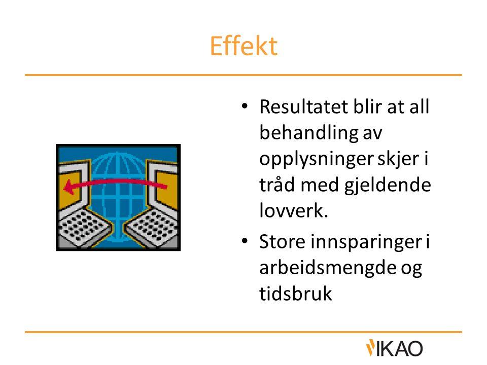 Effekt Resultatet blir at all behandling av opplysninger skjer i tråd med gjeldende lovverk. Store innsparinger i arbeidsmengde og tidsbruk