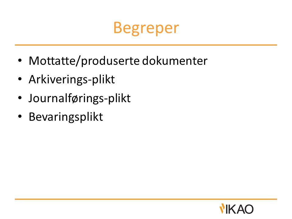 Begreper Mottatte/produserte dokumenter Arkiverings-plikt Journalførings-plikt Bevaringsplikt