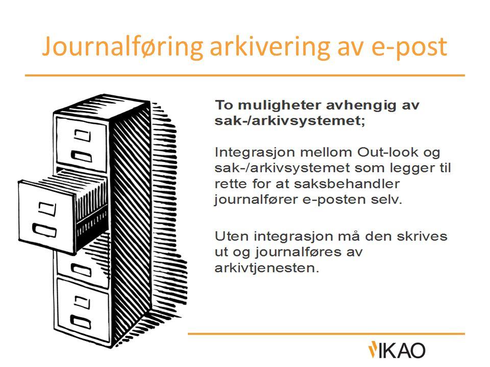 Journalføring arkivering av e-post