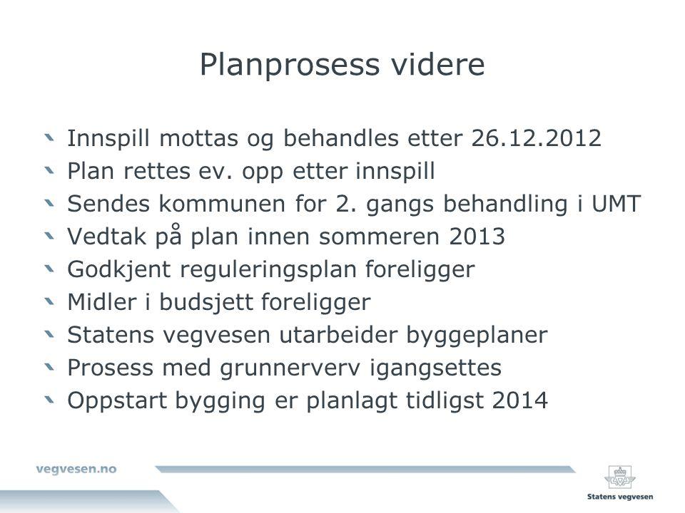 Planprosess videre Innspill mottas og behandles etter 26.12.2012 Plan rettes ev.